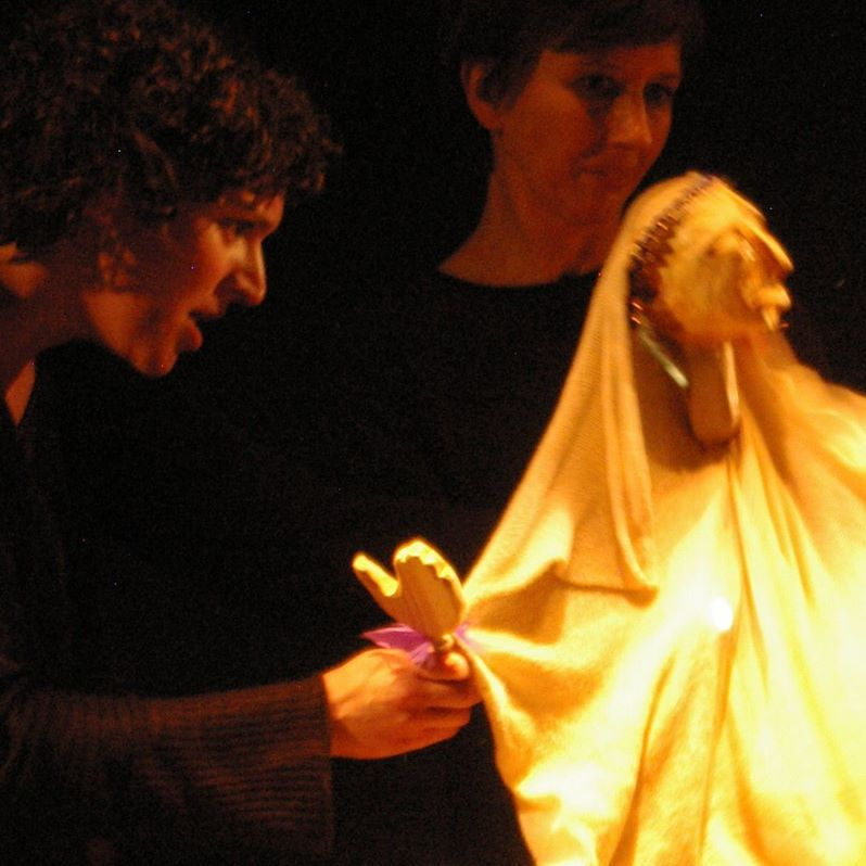 Ashleigh puppeteers in A Light Journey at the Little Angel Theatre 2015